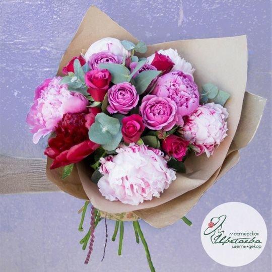 Букет  из пионов и роз «Омбре»