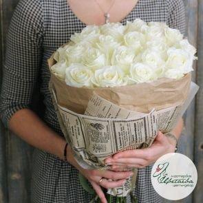 Букет из 25 белых элитных роз Эквадор