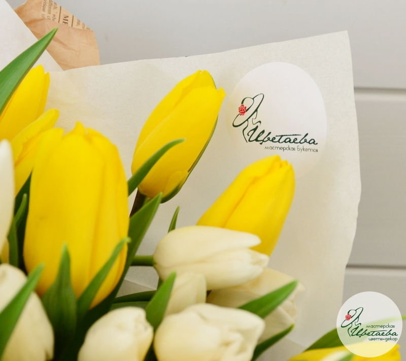Букет из любого количества тюльпанов желтые