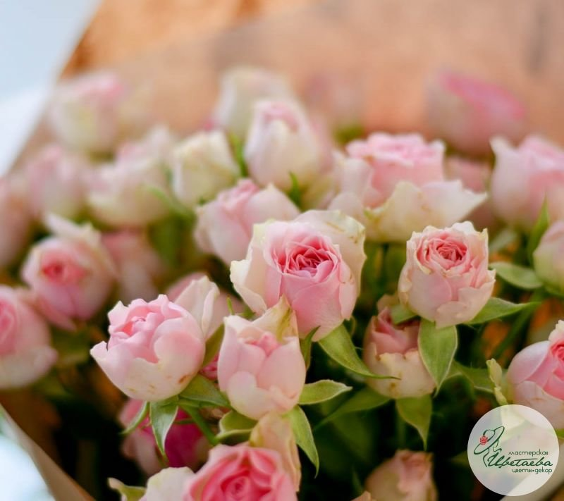 кустовые розовые розы букет