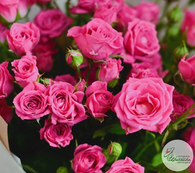 купить букет из 11 розовых кустовых роз