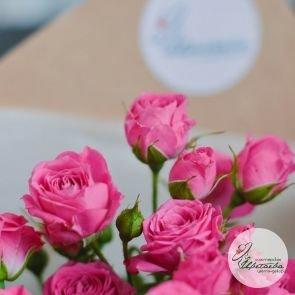 розовые кустовые розы - 11 шт.