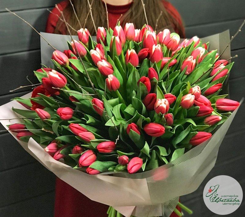 Букет из 101 крупного тюльпана Сочи