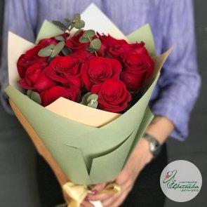 Дополнительные фотографии к товару - 11 роз с эвкалиптом (цвет на выбор)
