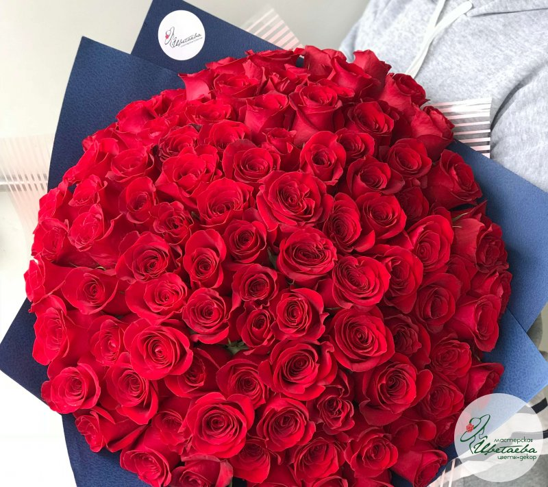 букет 101 роза 50 см