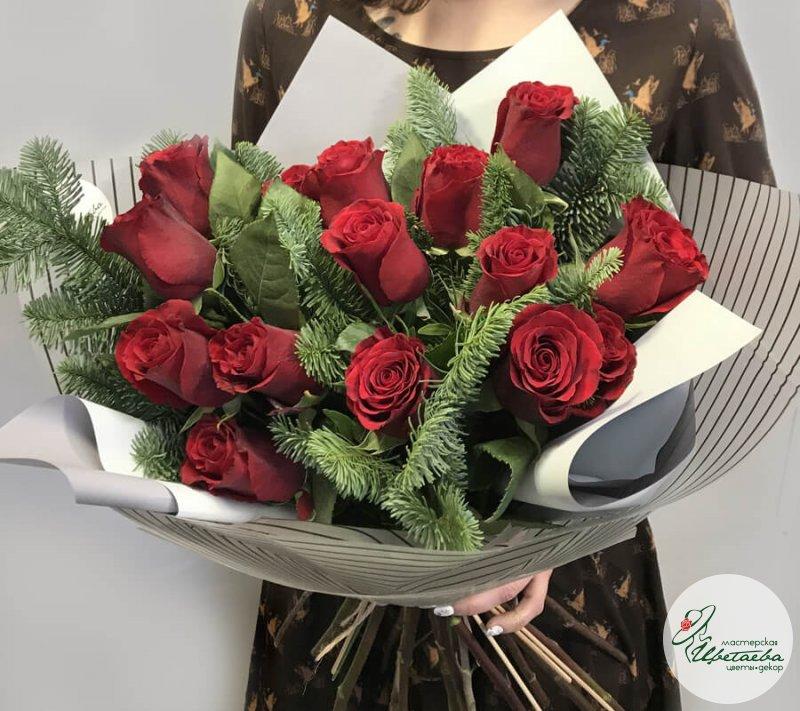 Новогодние букеты из роз